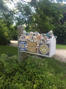 Mosaic Mailbox holding shell collection